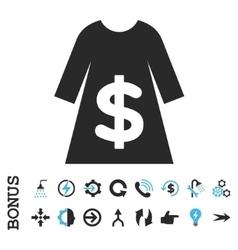 Dress Sale Flat Icon With Bonus vector