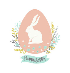 easter greeting card with egg floral wreath vector image