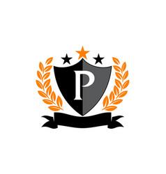 Emblem star ribbon shield initial p vector