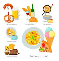 European food cuisine tasty dinner food vector