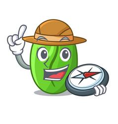 Explorer green coffee beans in cartoon bowl vector