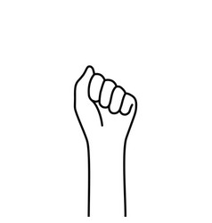 female thin line fist like protest vector image