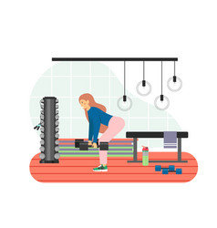 fitness gym young woman doing deadlift exercises vector image