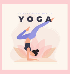 Flat design international day yoga vector