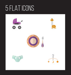 Flat kid set of mobile stroller baby plate and vector