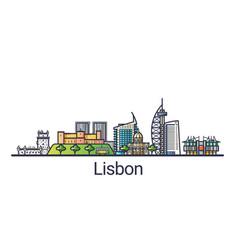 flat line lisbon banner vector image