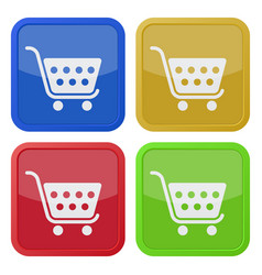 Four square color icons shopping cart vector