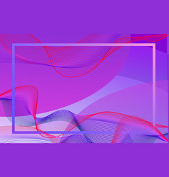 Frame template design with purple wavy lines vector