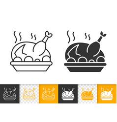 Fried turkey simple black line icon vector