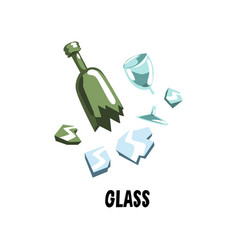 Glass garbage broken mirror green bottle and wine vector