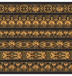 Golden antique borders on the dark brown vector