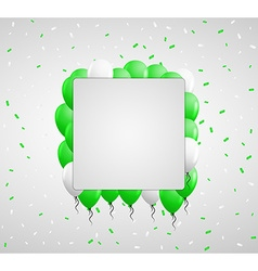 Green balloons and confetti vector