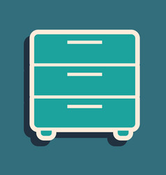 Green furniture nightstand icon isolated on blue vector