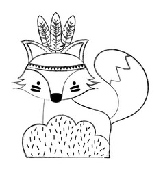 Grunge ethnic fox animal in back of bushes plant vector