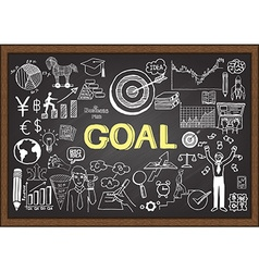 Hand drawn goal on chalkboard vector image