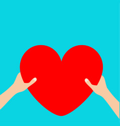 hands arms holding red heart icon shape sign vector image