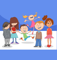 happy cartoon children characters group vector image