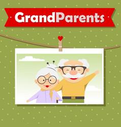 Happy grandparents day photo cute cartoon vector