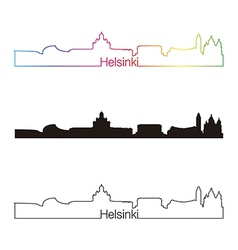 Helsinki skyline linear style with rainbow vector image