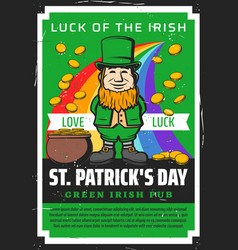 irish beer bar st patrick day leprechaun gold vector image