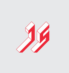 Isometric 3d font for design letter j and s vector