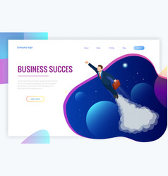isometric design for business startup web banner vector image
