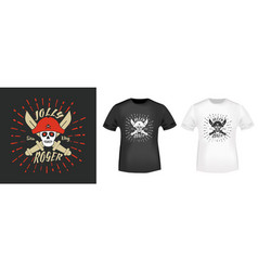 jolly roger pirates t shirt print stamp vector image