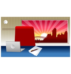 Laptop on a desk vector image