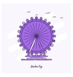 London eye landmark purple dotted line skyline vector