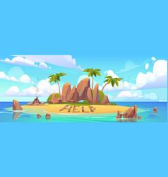 Lost island in ocean with alone castaway person vector