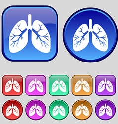 Lungs icon sign A set of twelve vintage buttons vector image