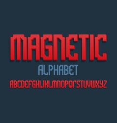 Magnetic alphabet red gradient 3d letters font vector