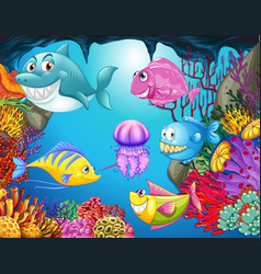 Many sea animals in the ocean vector