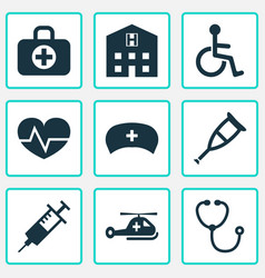 Medicine icons set collection of injection vector