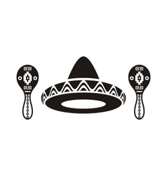 Mexican sombrero and maracas vector