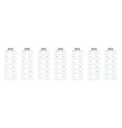 mockup simple calendar layout for 2019 to 2025 vector image
