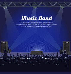 Music band concert at big stage with spotlights vector