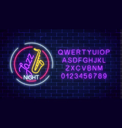 neon jazz cafe glowing sign with saxophone and vector image