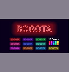 Neon name of bogota city vector