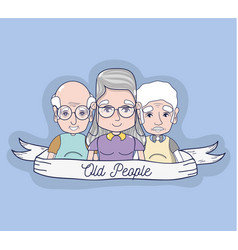 Old people together with ribbon icons vector