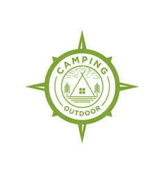 Outdoor adventure logo with tent elements vector