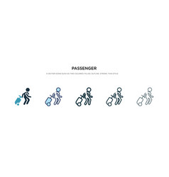 Passenger icon in different style two colored vector