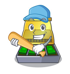 Playing baseball electronic cash register isolated vector