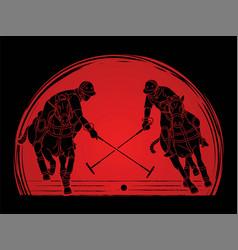 Polo horses players sport cartoon graphic vector