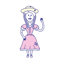 pretty woman with hat and dress vector image