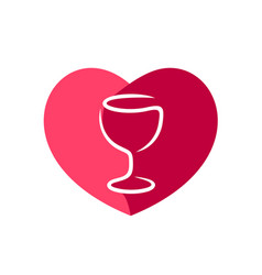 red wine glass with heart shape figure behind vector image