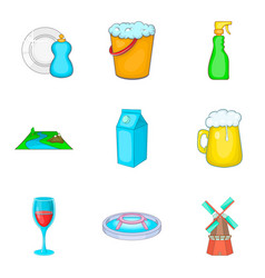 Reservoir storage icons set cartoon style vector