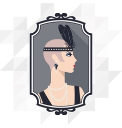 Retro background with beautiful girl 1920s vector