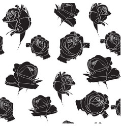 roses flowers seamless pattern vector image