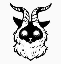 Scary mystical cat with horns vector